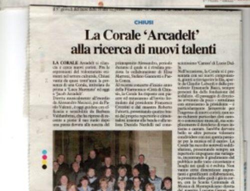 La Nazione: La Corale Arcadelt alla ricerca di nuovi talenti